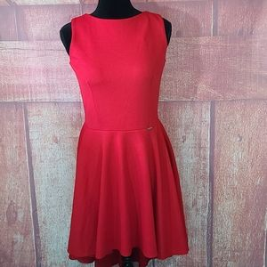 NUMOCO Red Sleeveless Hi-Low Skater Dress